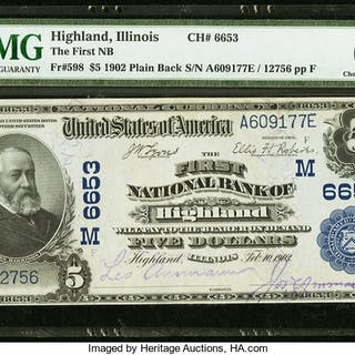 Highland, IL - $5 1902 Plain Back Fr. 598 The First NB Ch. # (M)6653
