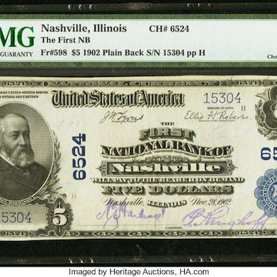 Nashville, IL - $5 1902 Plain Back Fr. 598 The First NB Ch. # 6524