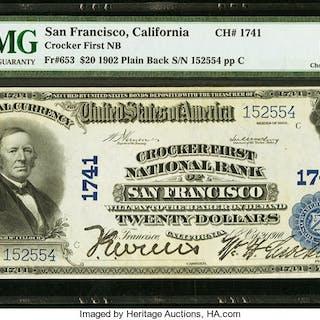 San Francisco, CA - $20 1902 Plain Back Fr. 653 Crocker First NB Ch.