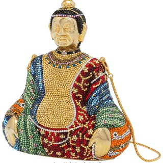 "Judith Leiber Multicolor Crystal Buddha Minaudiere Condition: 1 5"""