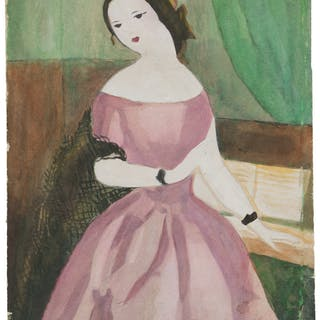 "Marie Laurencin. Watercolor Painting from Camille Signed. ""Marie Laurencin."""
