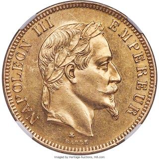 Napoleon III gold 100 Francs 1864-A AU58 NGC,...