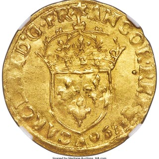 Charles X gold Ecu d'or 1590-A MS61 NGC,...