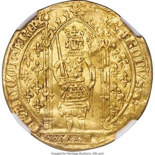 Charles V gold Franc a Pied ND (1364-1380) AU50 NGC, ...