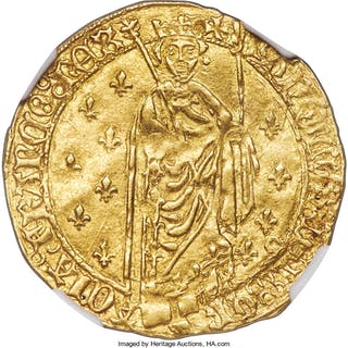 Charles VII gold Royal d'Or ND (1422-1461) AU55 NGC,...