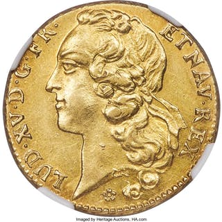 Louis XV gold 2 Louis d'Or 1756-AA AU58 NGC,...