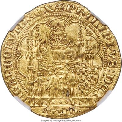 Philippe VI gold Écu d'or à la chaise ND (1328-1350) AU Details (Cleaned)