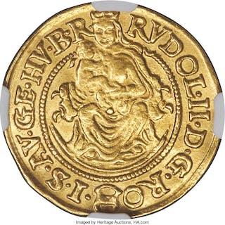 Rudolf II gold Ducat 1591-KB AU55 NGC,...