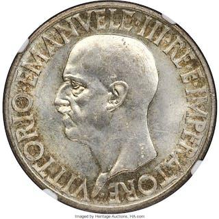 Vittorio Emanuele III 20 Lire 1936-R MS63+ NGC,...