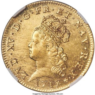Louis XV gold 2 Louis d'Or 1717-A MS63 NGC,...