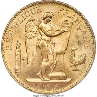 Republic gold 100 Francs 1906-A MS63 PCGS,...