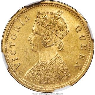 British India. Victoria gold Mohur 1875-(c) MS62+ NGC,...