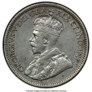 "George V ""Broad Leaves"" 10 Cents 1913 XF45 PCGS,..."