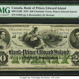 Canada Charlotte Town, Bank of Prince Edward Island $20 1.1.1872 Ch.#