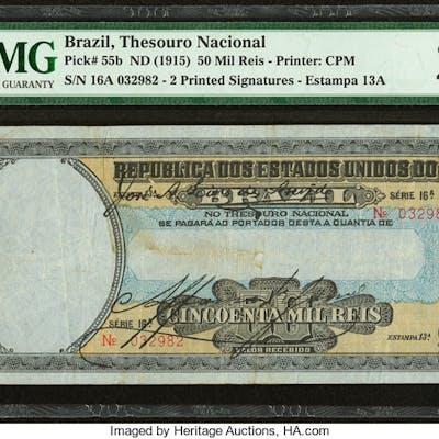 Brazil Thesouro Nacional 50 Mil Reis ND (1915) Pick 55b PMG Very Fine