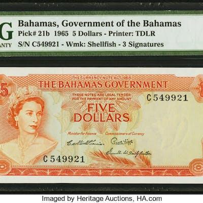 Bahamas Bahamas Government 5 Dollars 1965 Pick 21b PMG About Uncirculated