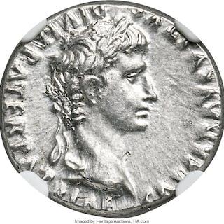 Augustus (27 BC-AD 14). AR denarius (19mm, 3.86 gm, 2h). NGC MS 5/5 - 4/5....