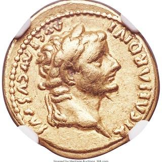 Tiberius (AD 14-37). AV aureus (19mm, 7.73 gm, 8h). NGC VF 5/5 - 5/5....