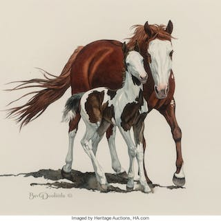 Bev Doolittle (American, b. 1947) Pinto Mare and Foal Watercolor on