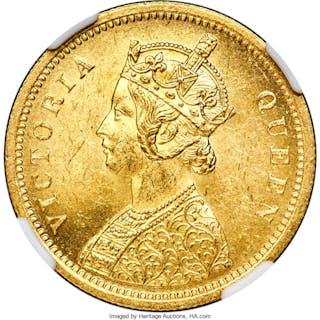 British India. Victoria gold Mohur 1862-(c) MS63+ NGC,...