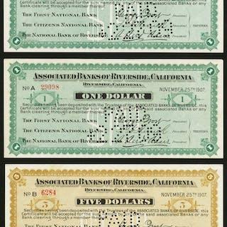 Riverside, CA- Associated Banks of Riverside, California $1 (2); $5