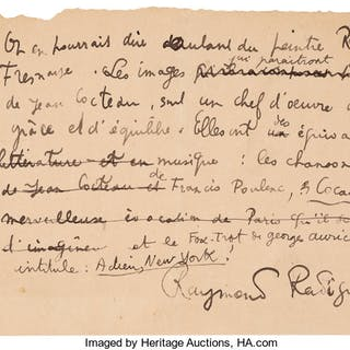Raymond Radiguet. Two Autograph Letters Signed and Four Manuscript Poems....