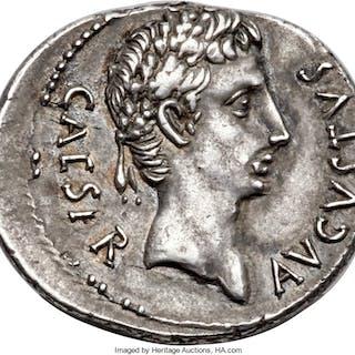 Augustus (27 BC-AD 14). AR denarius (21mm, 3.87 gm, 6h). XF....