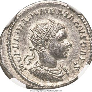 Diadumenian, as Caesar (AD 218). AR antoninianus (23mm, 5.63 gm, 6h).