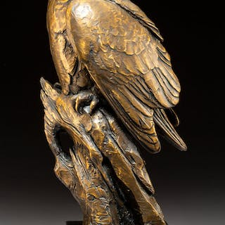 Kent Ullberg (American, b. 1945) Owl Bronze with brown patina 17 inches