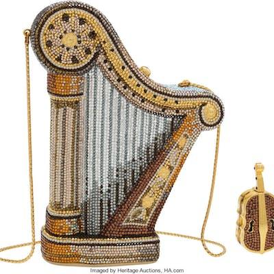 Judith Leiber Set of Two: Crystal Harp Minaudiere & Violin Pillbox