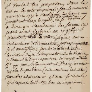 Gaspard Clair François Marie Riche de Prony. Autograph Letter. ...