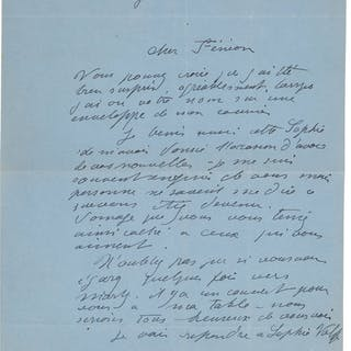 """Aristide Maillol. One Autograph Letter Signed. """"Maillol.""""..."""