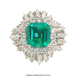 Colombian Emerald, Diamond, White Gold Ring ...