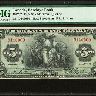 Canada Montreal, PQ- Barclays Bank $5 2.1.1935 Ch.# 30-12-02 PMG Very