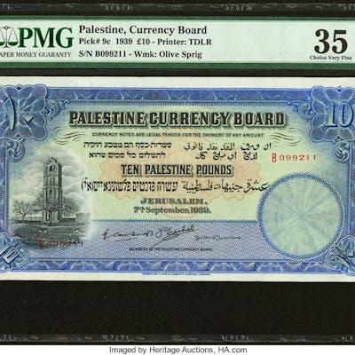 Palestine Palestine Currency Board 10 Pounds 7.9.1939 Pick 9c PMG