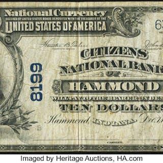 Hammond, IN - $10 1902 Plain Back Fr. 632 The Citizens NB Ch. # 8199 Fine. ...