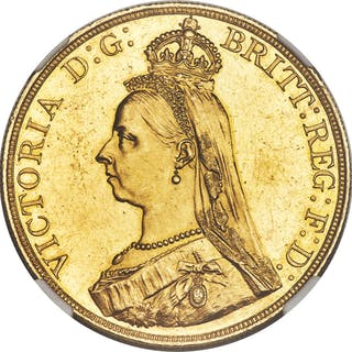 Victoria gold 5 Pounds 1887 MS63 NGC,...