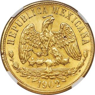 Republic gold 20 Pesos 1902 Mo-M MS63+ NGC,...