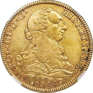 Charles III gold 8 Escudos 1788 Mo-FM AU50 NGC,...