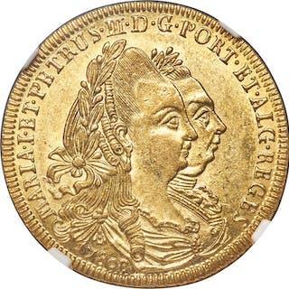 Maria I & Pedro III gold 6400 Reis 1780-B MS61 NGC,...