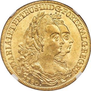 Maria I & Pedro III gold 6400 Reis 1780-R MS64 NGC,...