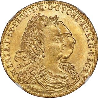 Maria I & Pedro III gold 6400 Reis 1784-B MS63 NGC,...