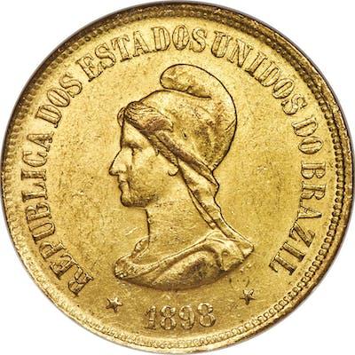 Republic gold 20000 Reis 1898 MS62 NGC,...