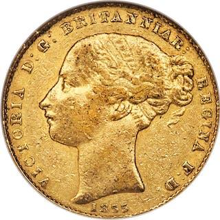 Victoria gold Sovereign 1855-SYDNEY VF35 NGC,...