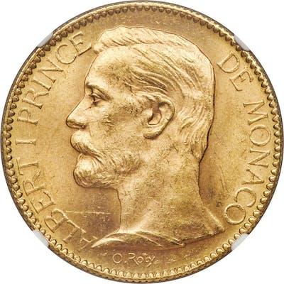 Albert I gold 100 Francs 1904-A MS63 NGC,...