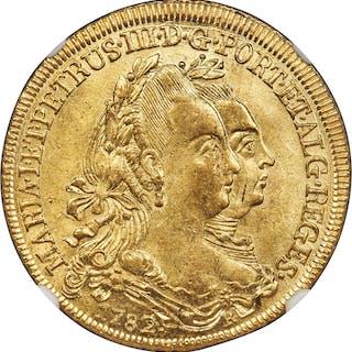 Maria I & Pedro III gold 6400 Reis 1782-R MS62+ NGC,...