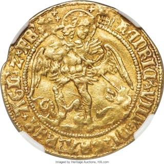 Henry VIII (1509-1547) gold Angel ND (1509-1526) VF35 NGC,...
