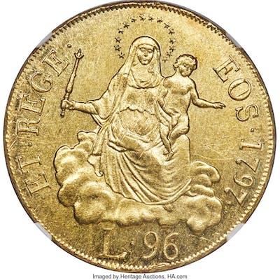 Genoa. Republic gold 96 Lire 1797 MS62+ NGC,...