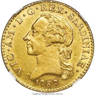 Sardinia. Vittorio Amedeo III gold Doppia 1787 AU Details (Edge Damage) NGC,...