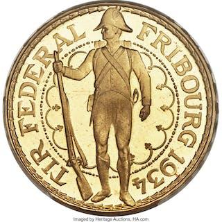 "Confederation gold ""Fribourg Shooting Festival"" 100 Francs 1934-B MS66 PCGS,..."